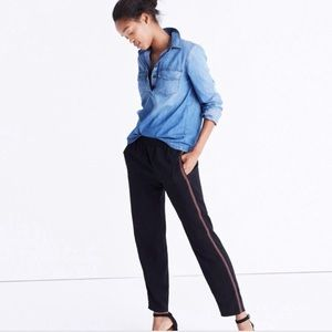 Madewell Black Embroidered Track Trouser Pant